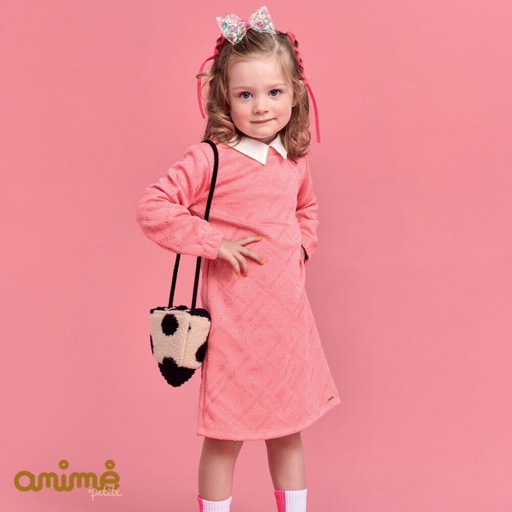 Vestido Infantil Feminino Rosa Estampa em Relevo Animê
