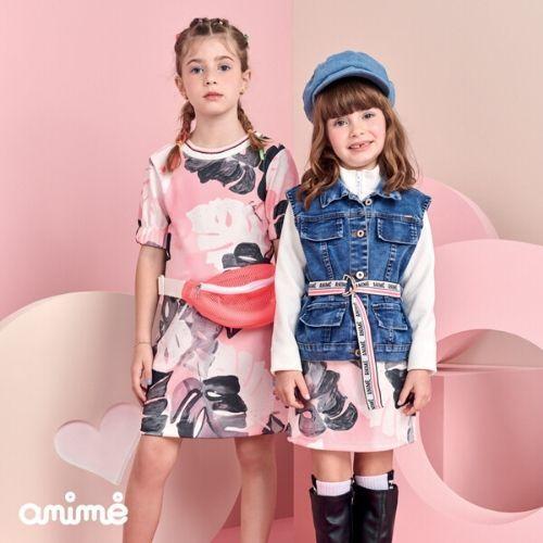 Vestido Infantil Feminino Rosa Folhagens