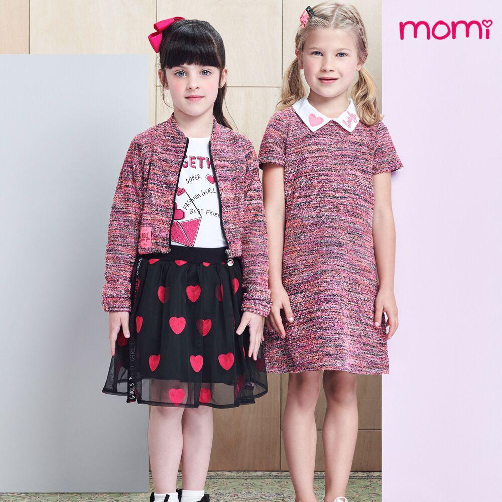 Vestido Infantil Feminino Rosa Mescla Gola Bordada Momi