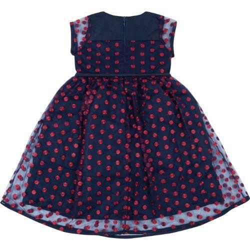 Vestido Feminino Festa Infantil Tule Azul Marinho com Poá