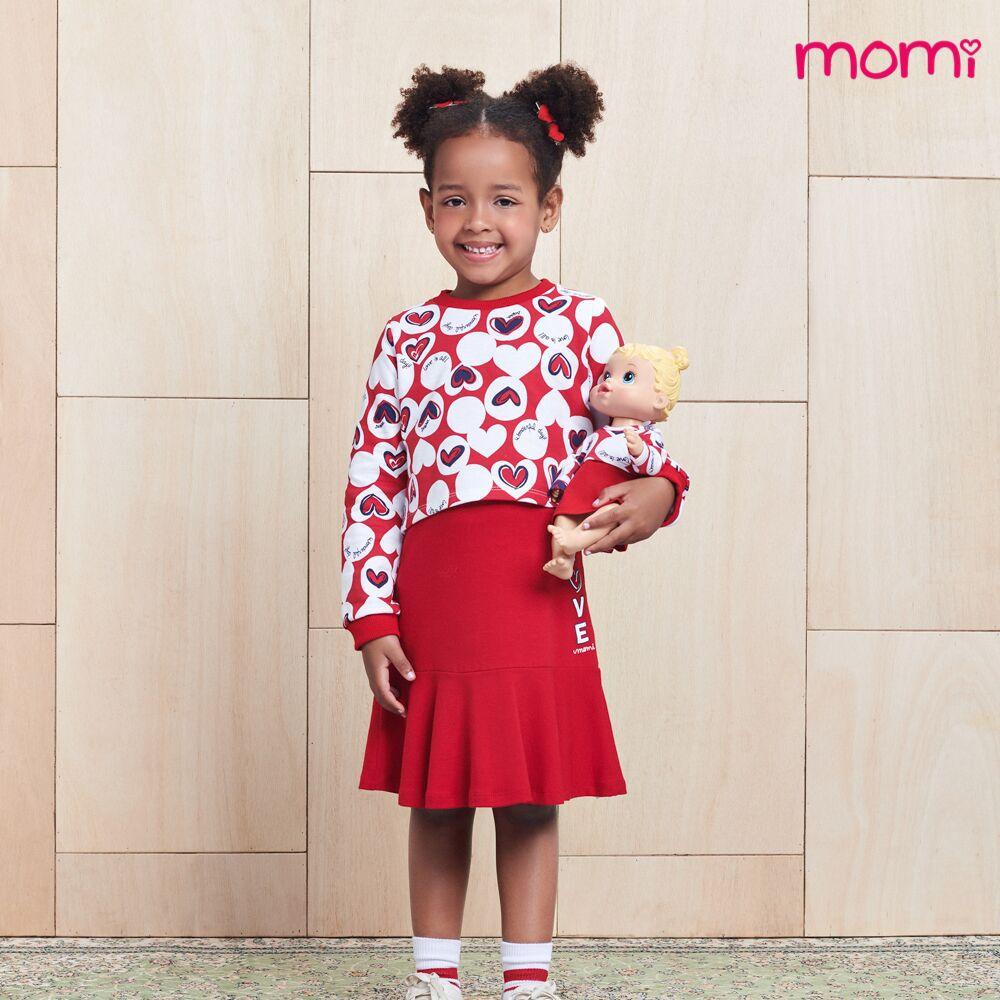 Vestido Infantil Feminino Vermelho com Blusa Corações