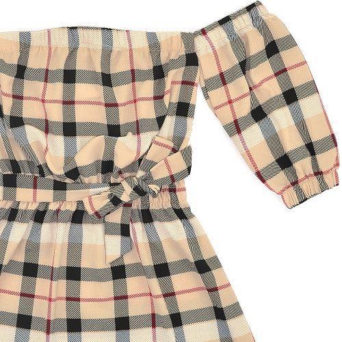 Vestido Infantil Feminino Xadrez Bege