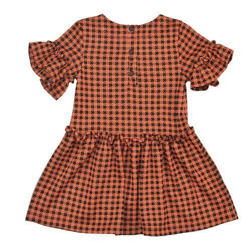 Vestido Infantil Feminino Xadrez Laranja Queimado com Preto