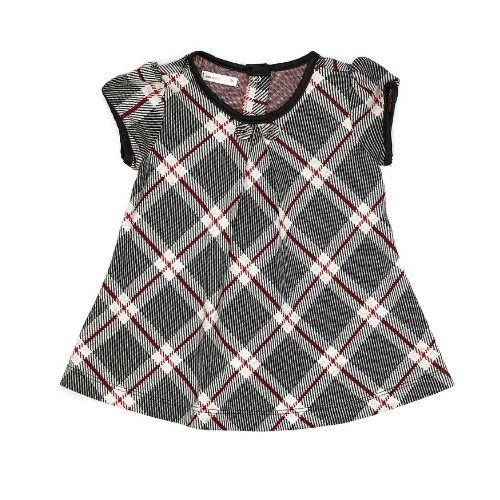 Vestido Infantil Feminino Xadrez Preto com Vermelho