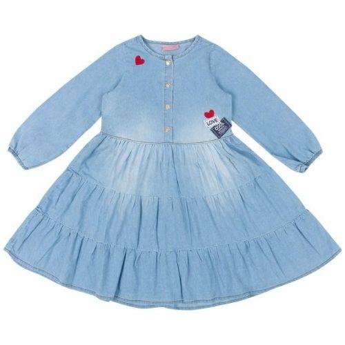 Vestido Jeans Infantil Feminino com Corações Momi