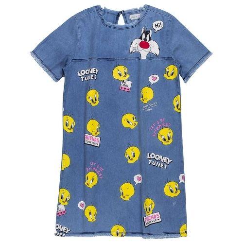 Vestido Jeans Infantil Feminino Piu Piu e Frajola