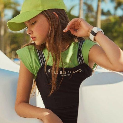Vestido Juvenil Feminino Cinza Alças Logo