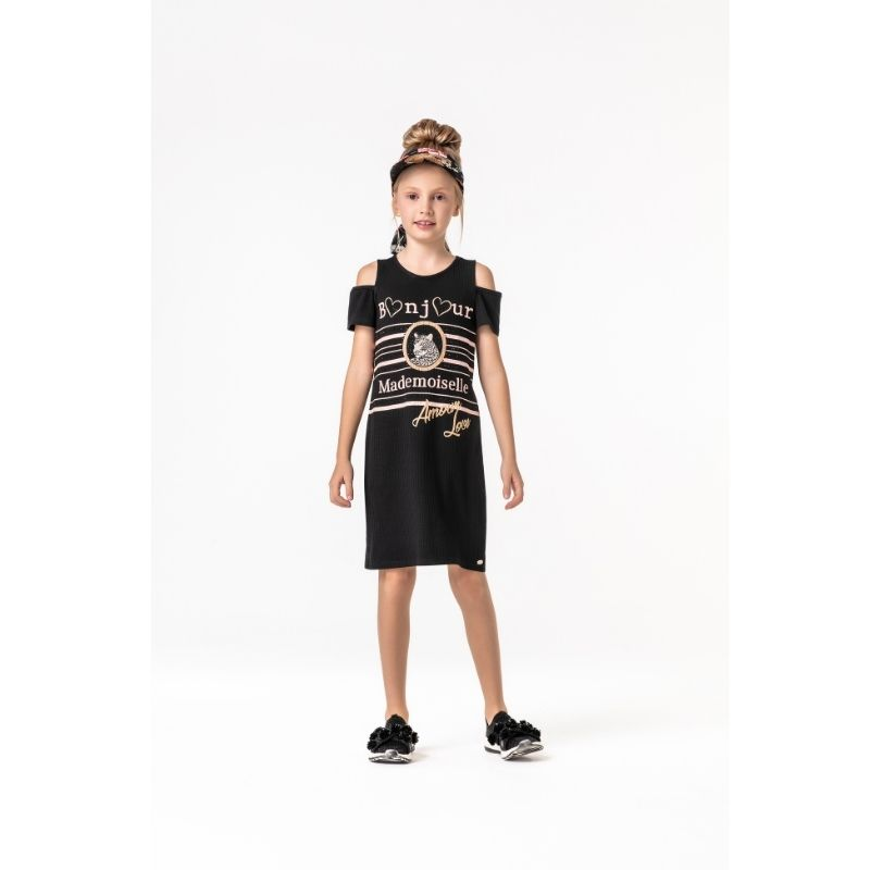 Vestido Juvenil Feminino Preto Malha Canelada Petit Cherie