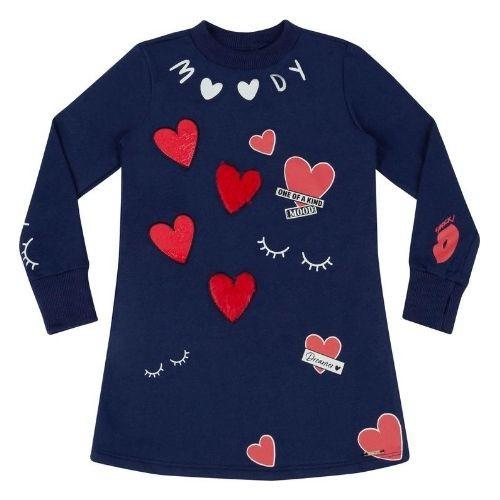 Vestido Moletom Infantil Feminino Azul Marinho com Corações