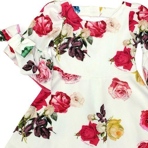Vestido Infantil Feminino Rosas com Laços nas Mangas