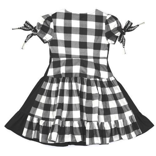 Vestido Infantil Feminino Preto com Costas Xadrez