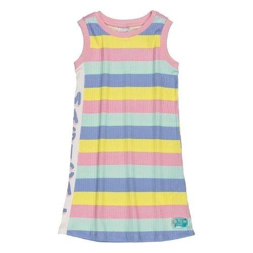 Vestido Regata Infantil Feminino com Listras Coloridas na Lateral