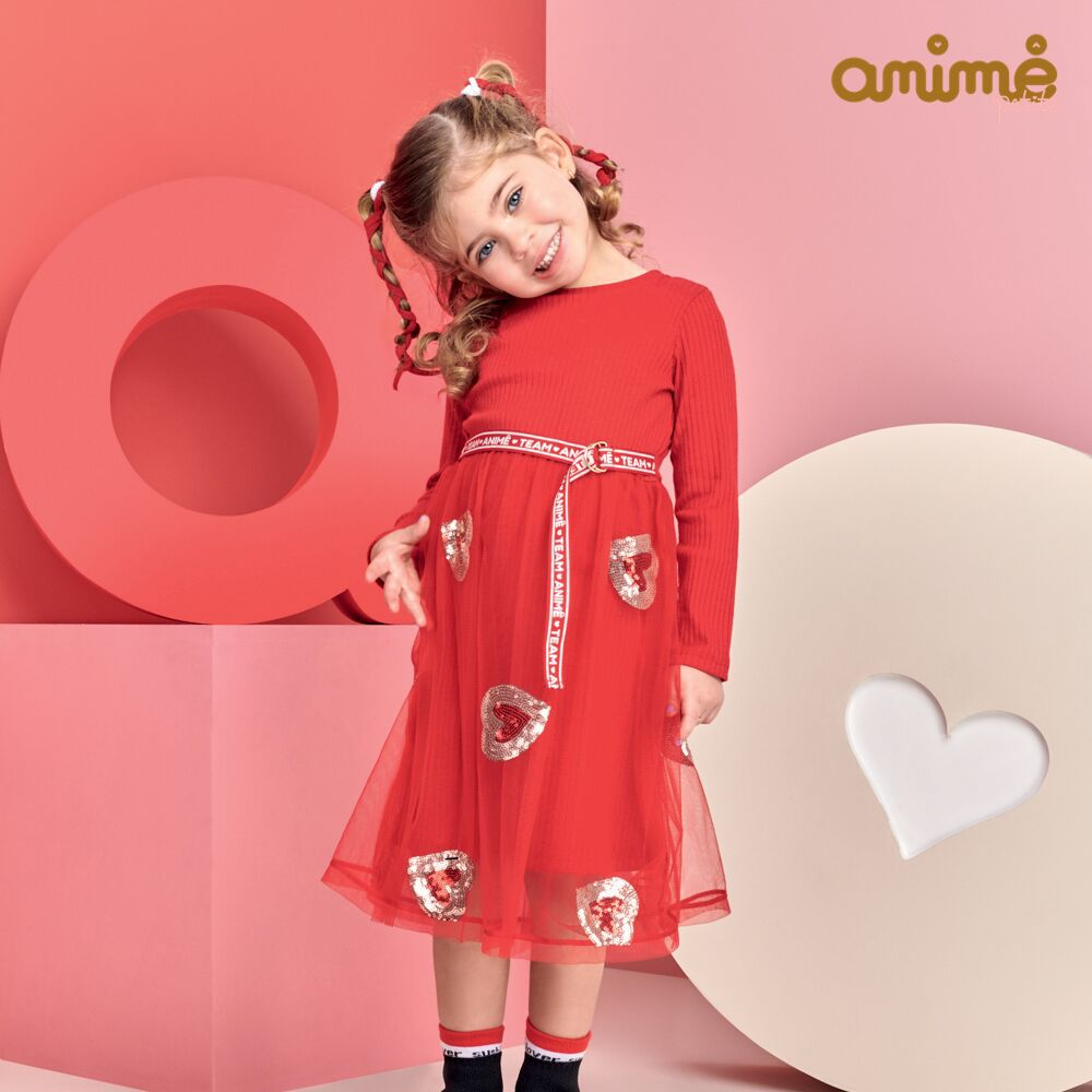 Vestido Infantil Feminino Vermelho Tule Bordado