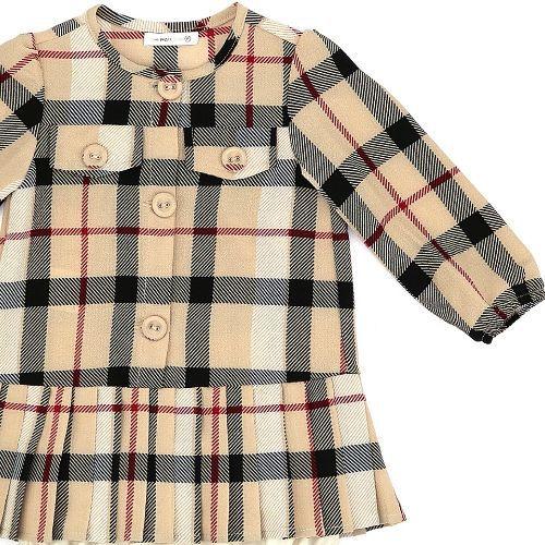 Vestido Infantil Feminino Xadrez Plissado com Calcinha