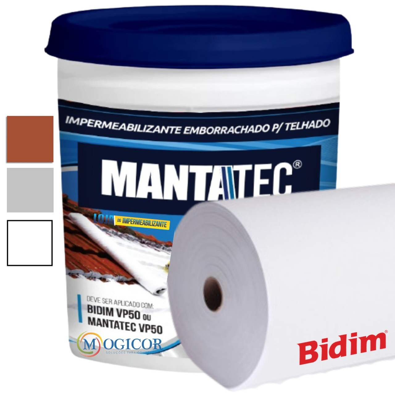 Kit 150m² Bidim VP50 + 10 Mantas Líquidas 18kg Mantatec - Cores
