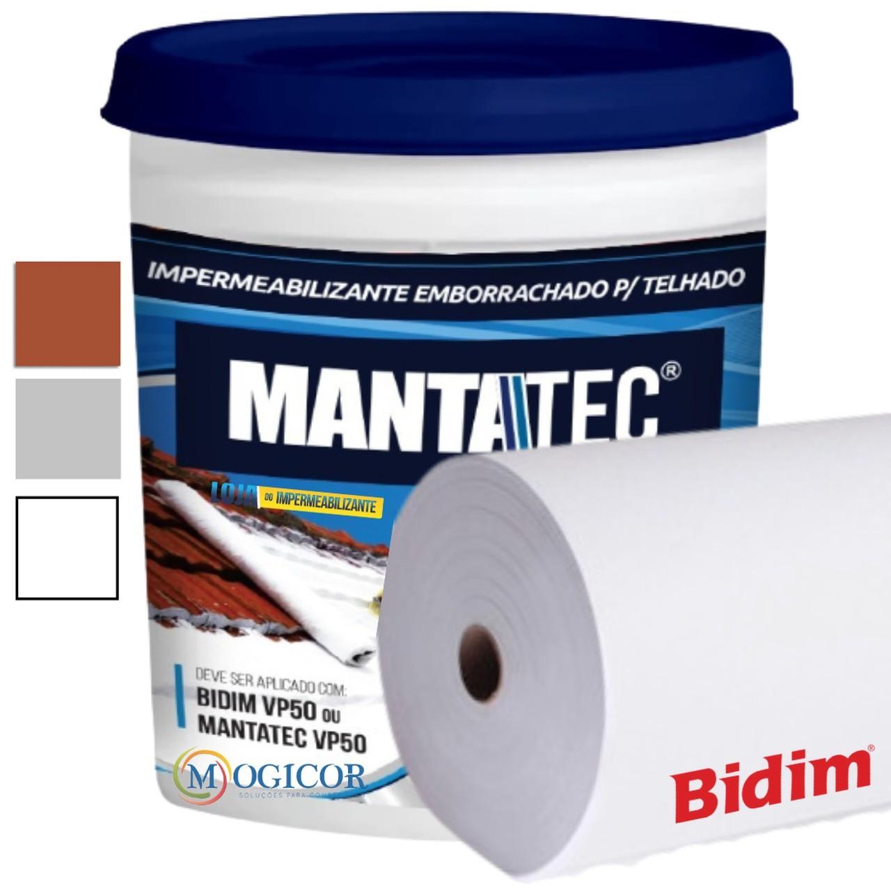 Kit 200m² Bidim VP50 + 14 Mantas Líquidas 18kg Mantatec - Cores