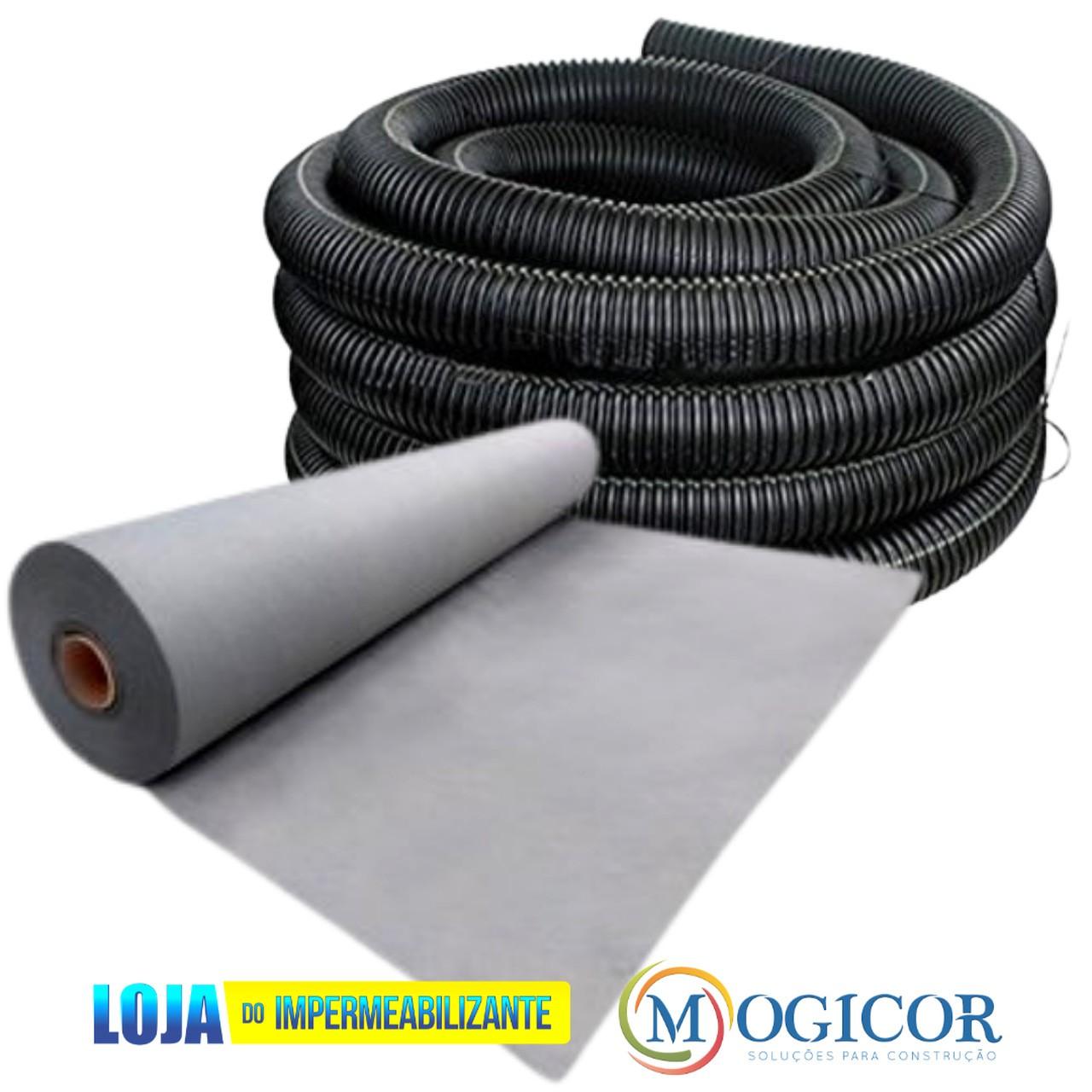 Kit 50m² Manta Geotêxtil Bidim ® + 50m Tubo para Drenagem 4'' Corrugado Preto