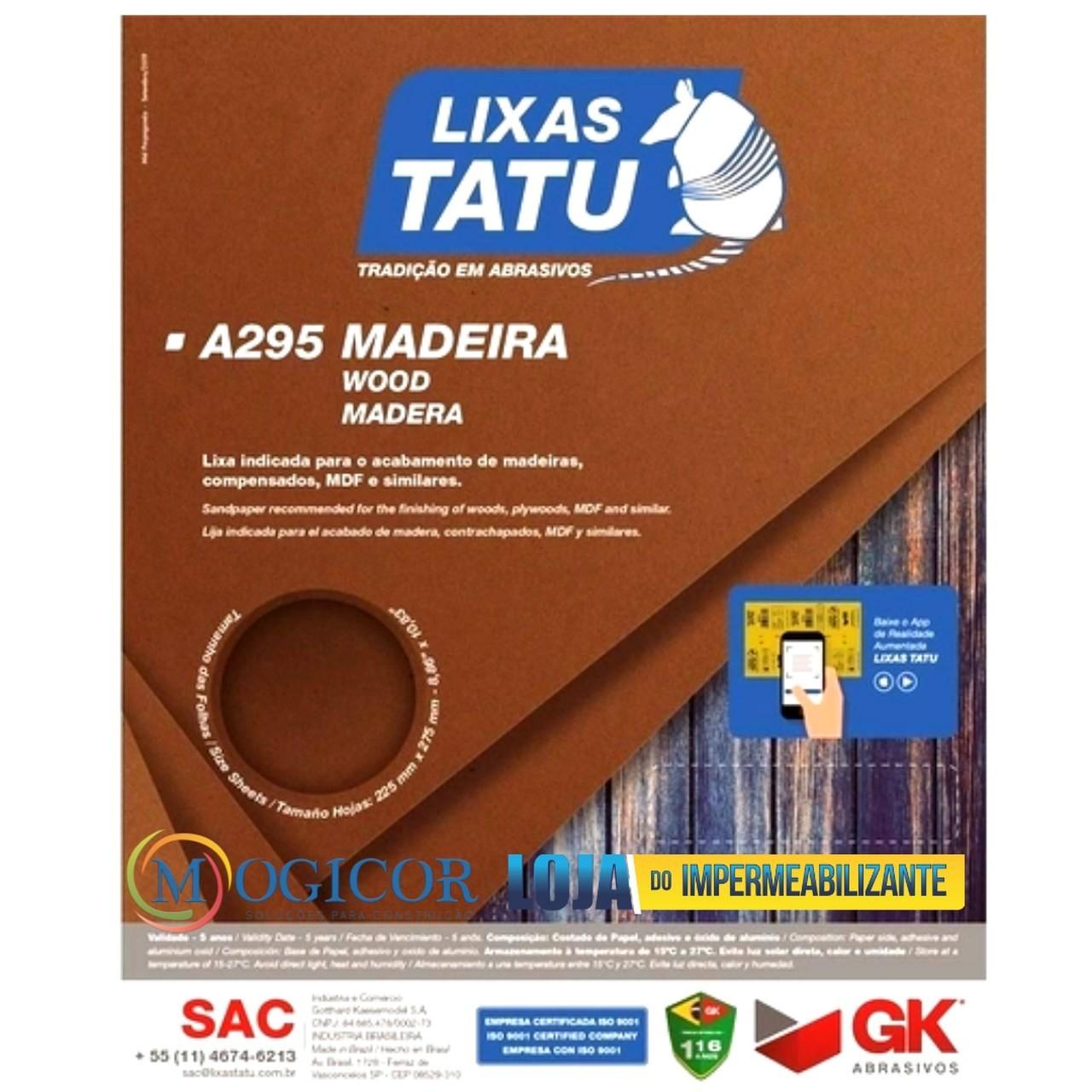 Kit 50un Lixa para Madeira, MDF, Compensados Grãos - Tatu