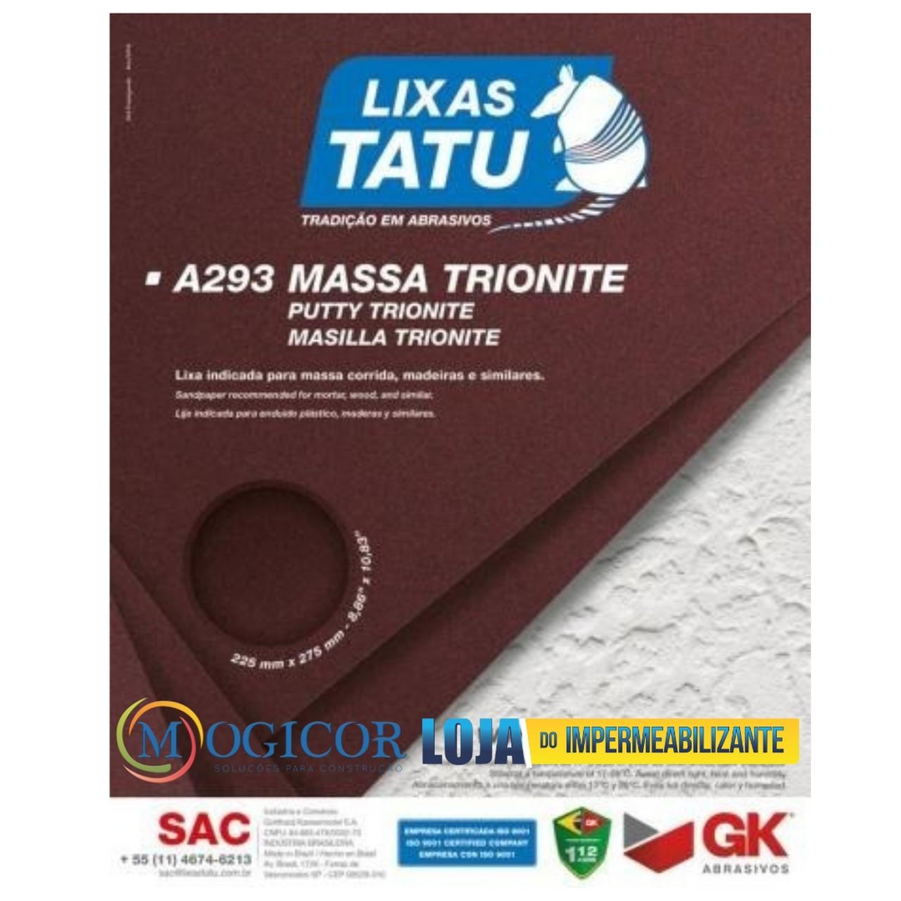 Kit 50un Lixa para Massa Corrida, Rebocos, Argamassas e Gesso - Tatu