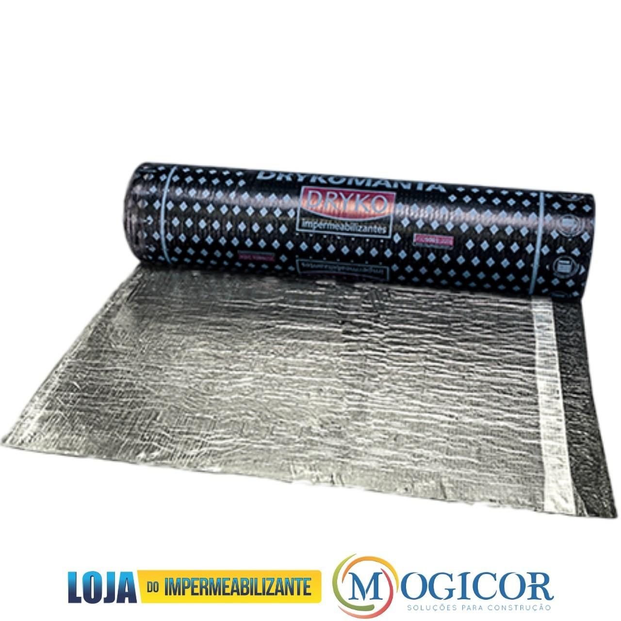 Manta Asfáltica Impermeabilizante c/ Alumínio 10m X 25kg p/ Lajes, Sheds, Calhas E Telhas Drykomanta