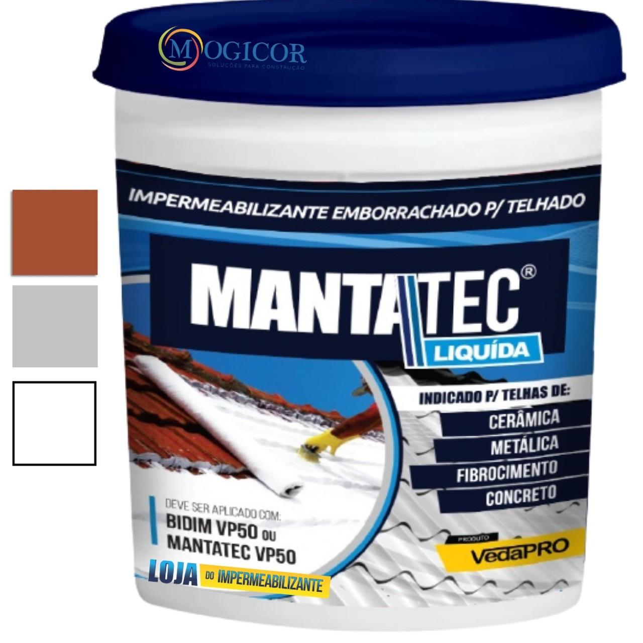 Manta Líquida MantaTec 12kg - Ideal p/ utilizar na impermeabilizão de lajes, telhados e telhas de zinco, madeira, colonial, embutido, verde, fibrocimento etc...