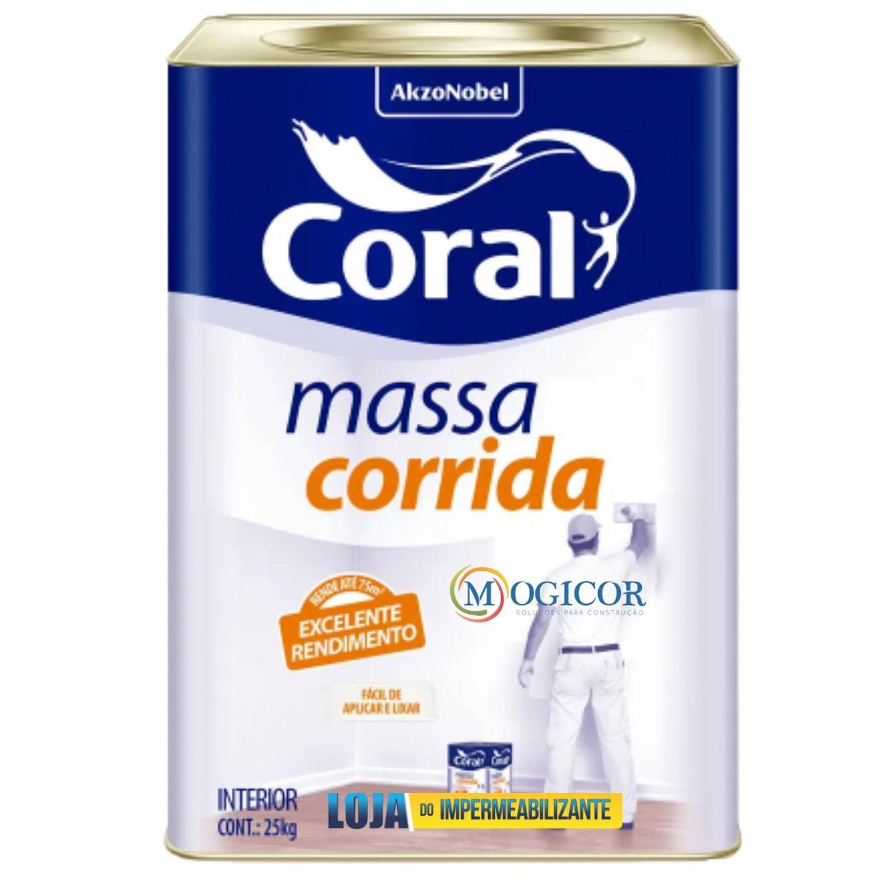 Massa Corrida Coral Premium 25kg p/ Reboco, Gesso, fibrocimento, Concreto