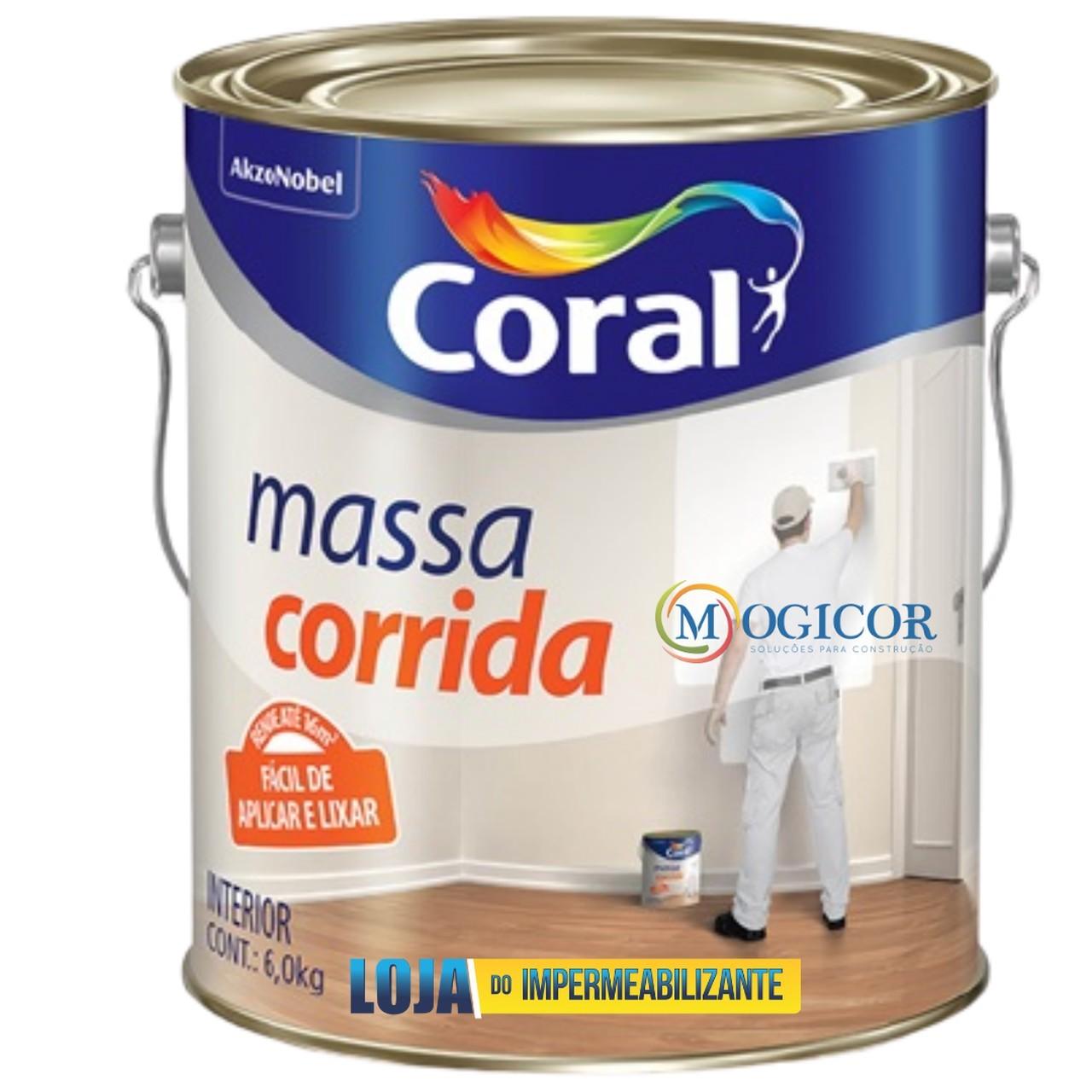 Massa Corrida Coral Premium 6kg p/ Reboco, Gesso, fibrocimento, Concreto