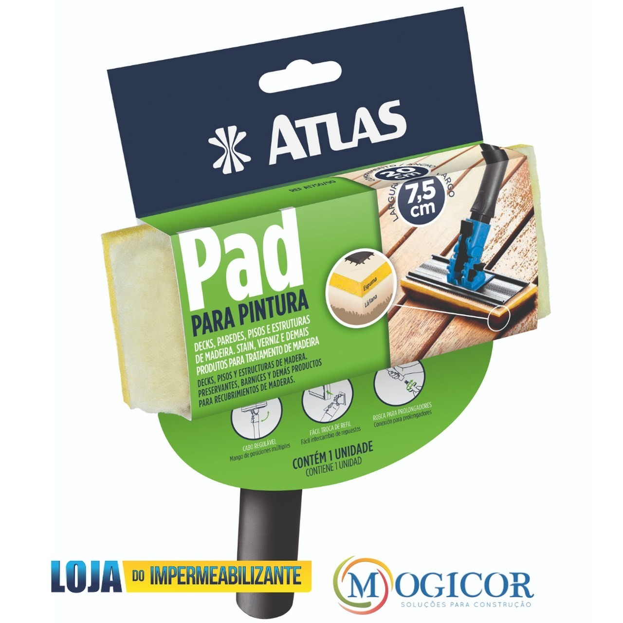 Pad Atlas para Pintura De Decks, Paredes, Pisos - Para verniz e stains