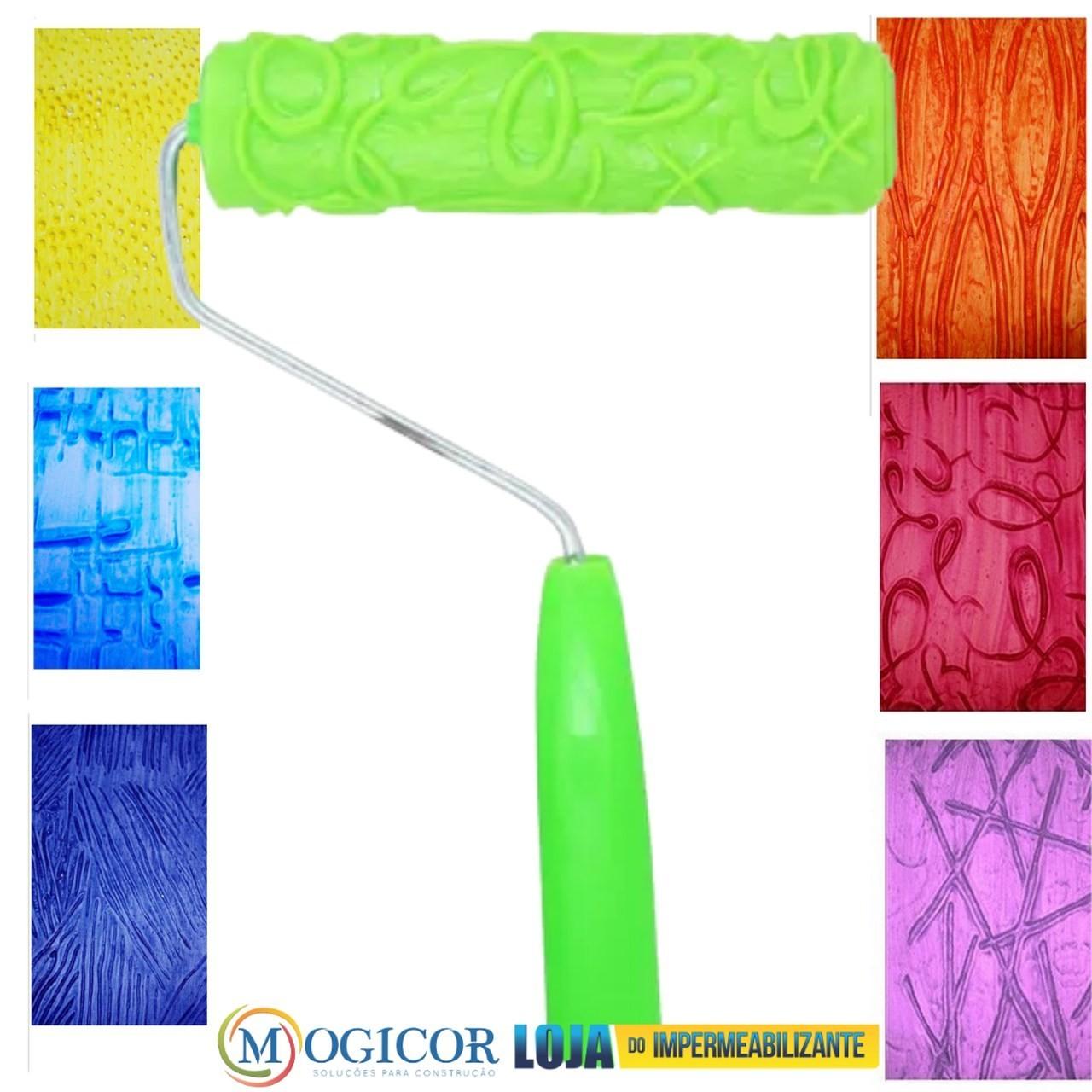 Rolos para Textura Borracha Decorativo c/ Desenhos 19cm - Compel