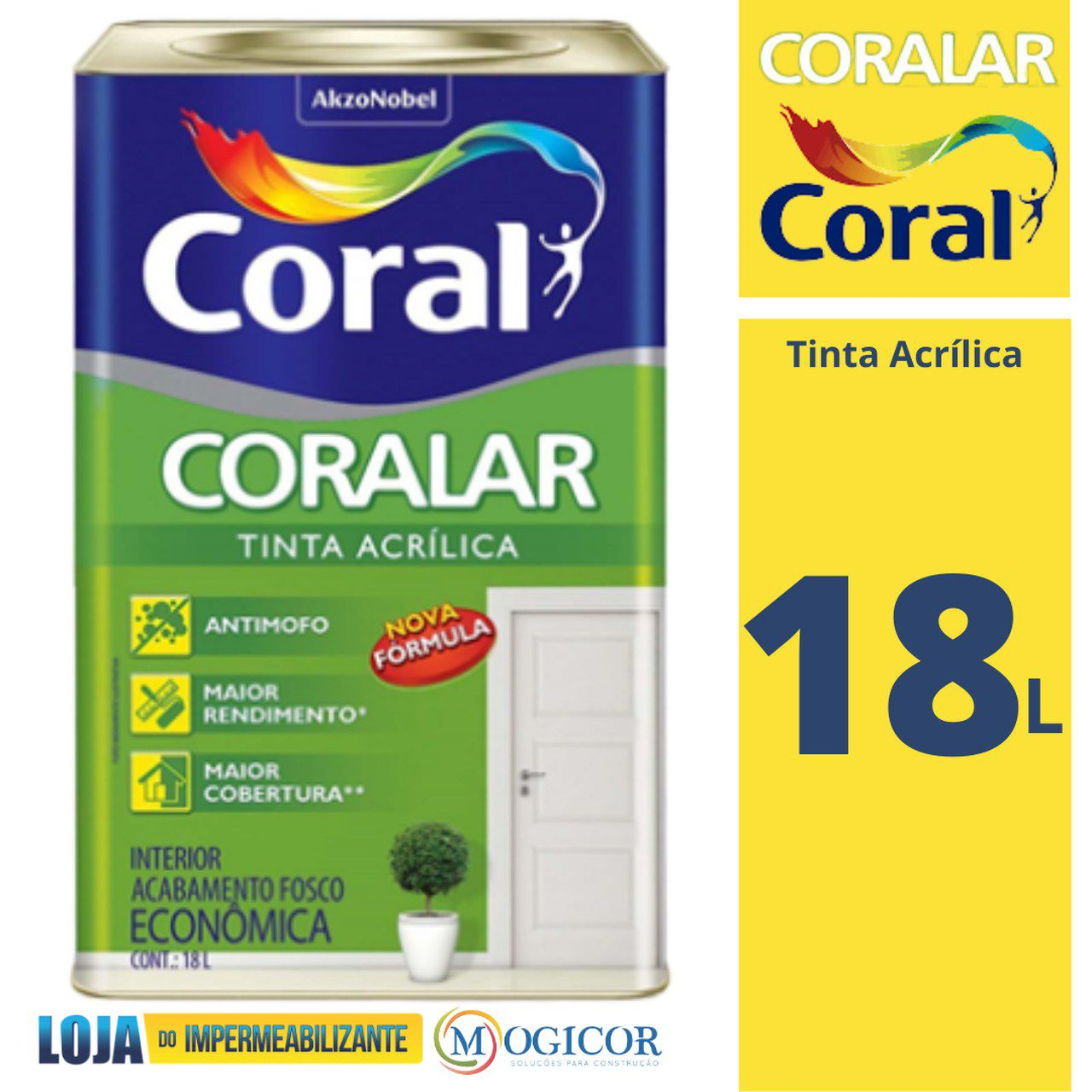 Tinta Acrílica 18 Litros Coralar Coral