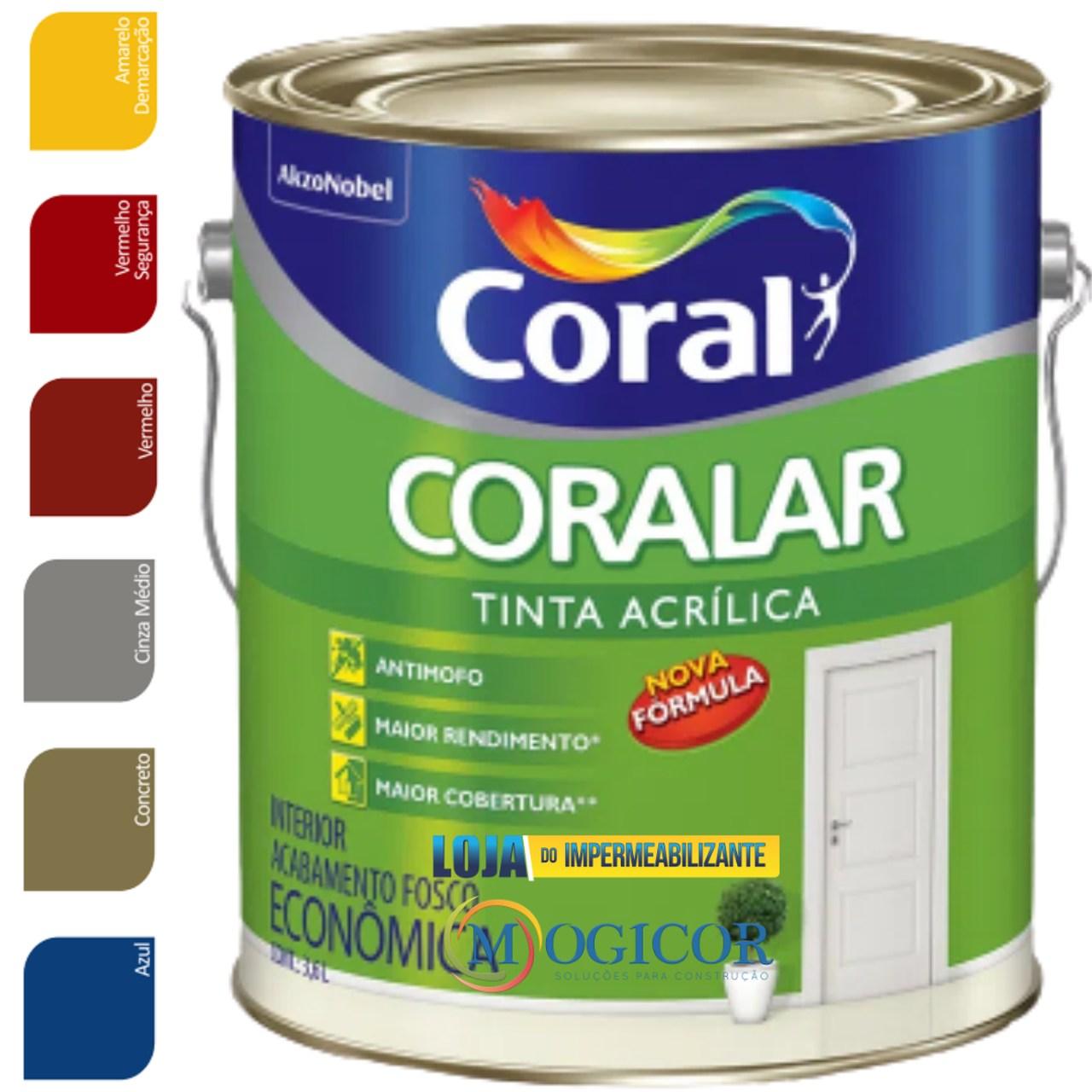 Tinta Acrílica Coral Coralar 3,6 Litros - Cores