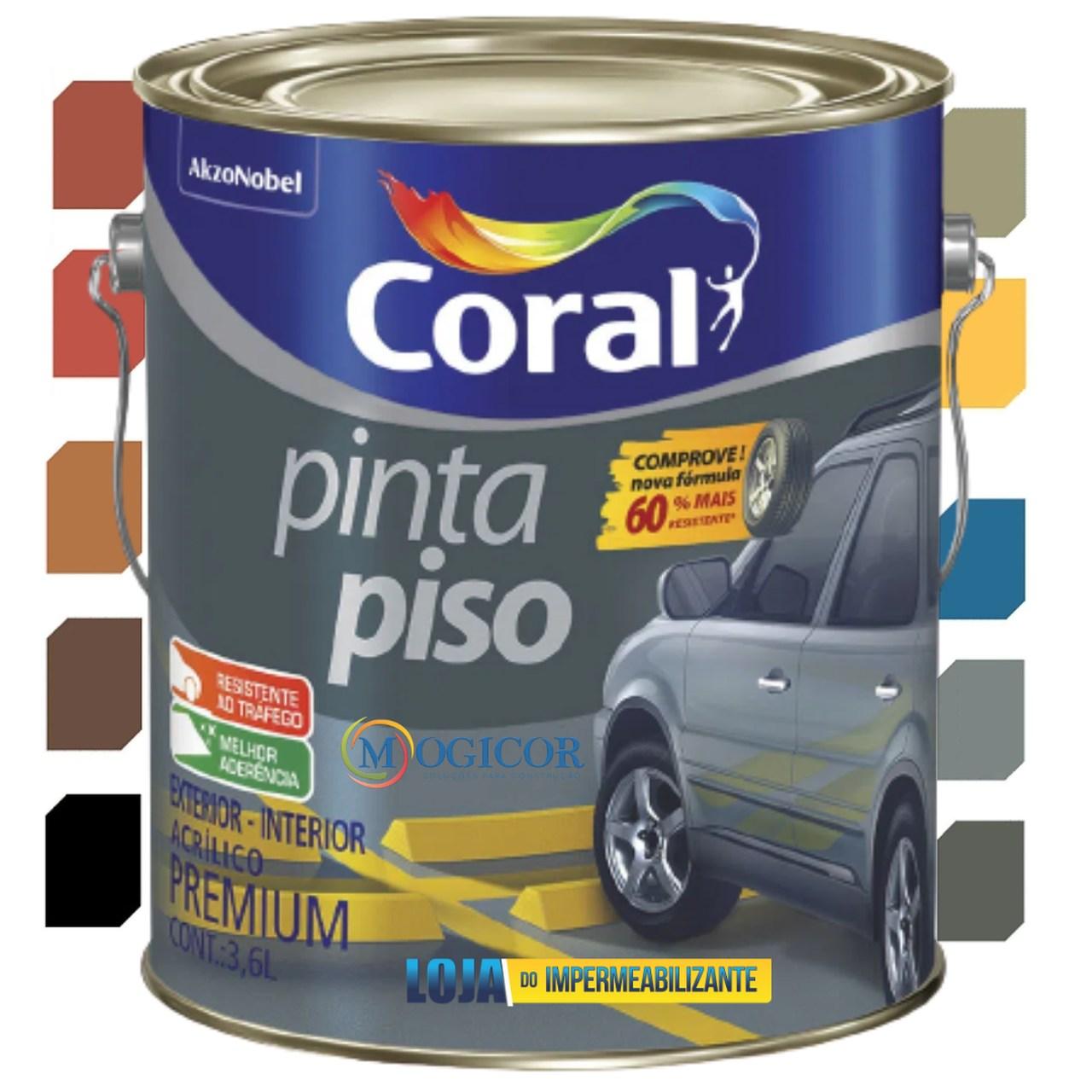 Tinta Acrílica Coral Pinta Piso Premium Interior e Exterior 3,6l - Cores