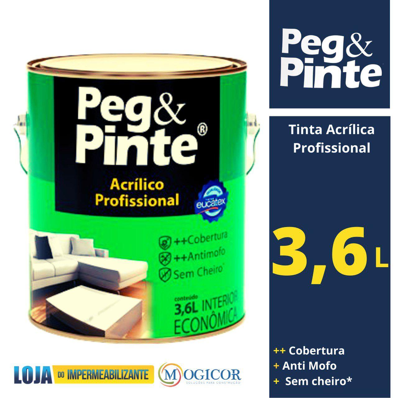 TINTA ACRÍLICA EUCATEX PEG & PINTE ACRÍLICO PROFISSIONAL 3,6l
