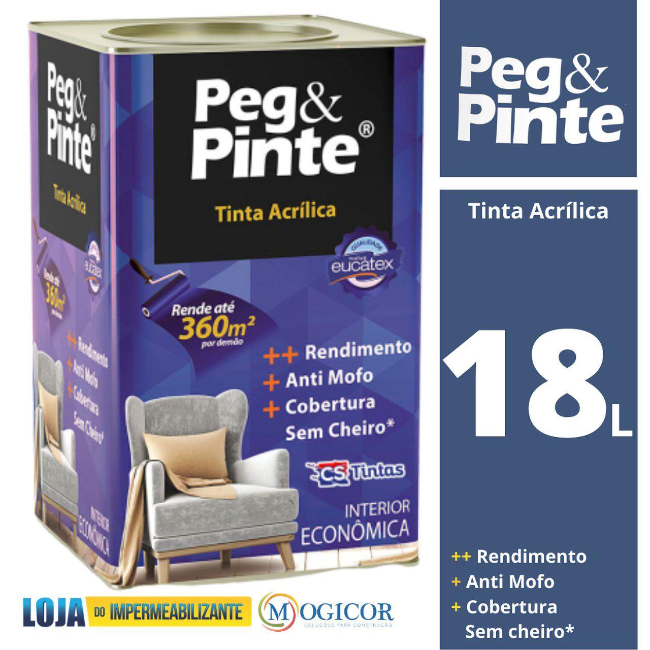 Tinta Acrílica Peg & Pinte Eucatex Econômica 18L