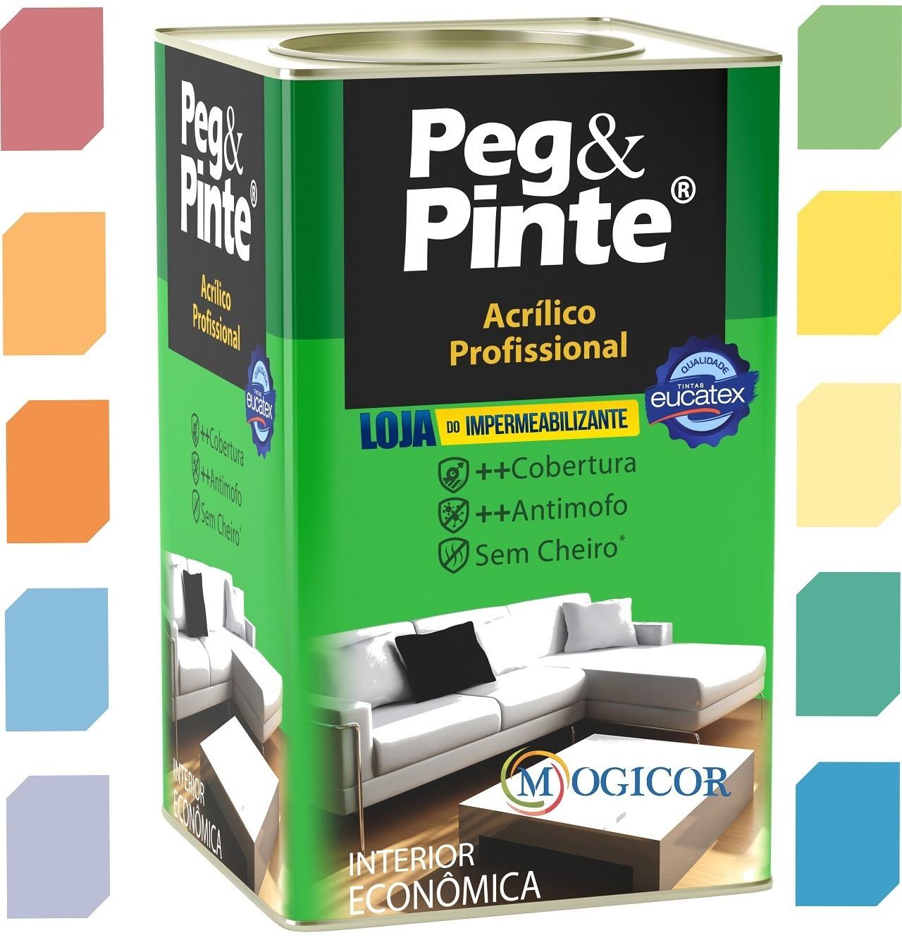 Tinta Acrílica Profissional Peg & Pinte 18l Cores - Eucatex