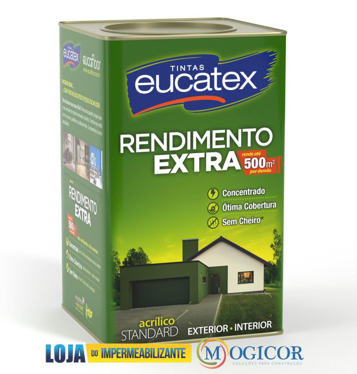 Tinta Acrílica Rendimento Extra 500m² P/ Paredes Internas & Externas 18L Eucatex