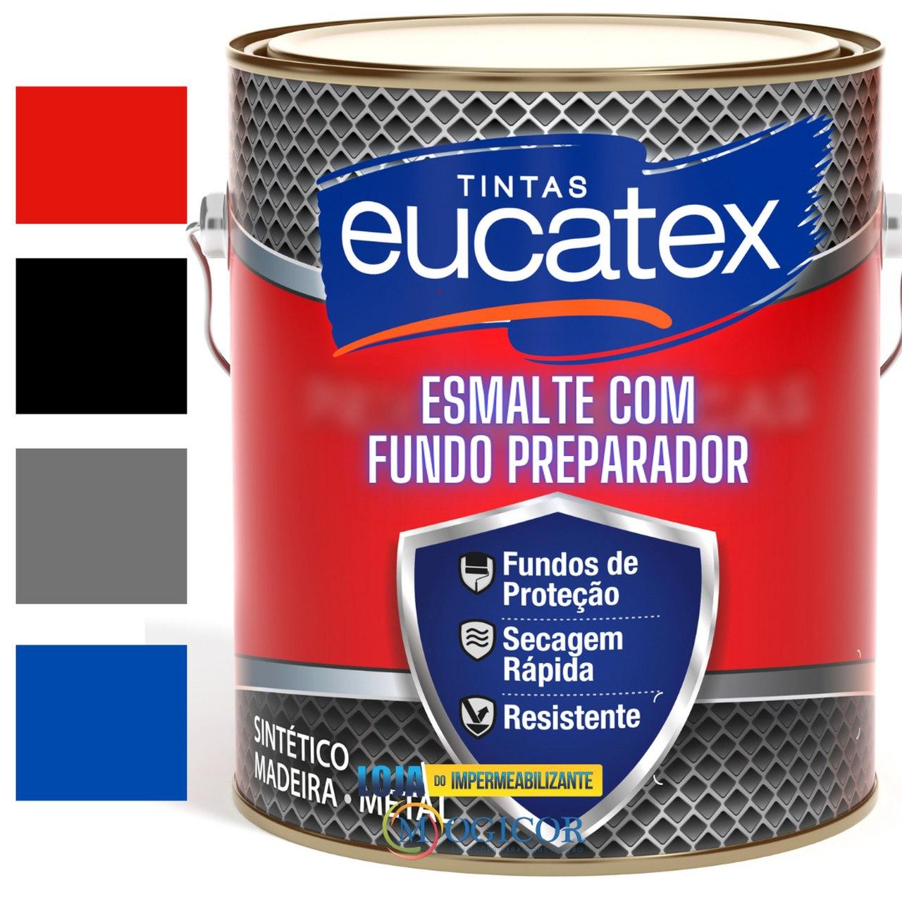 Tinta Esmalte Eucafer 3,6l com Fundo Preparador Galvanizado p/ Madeiras & Metais - Eucatex