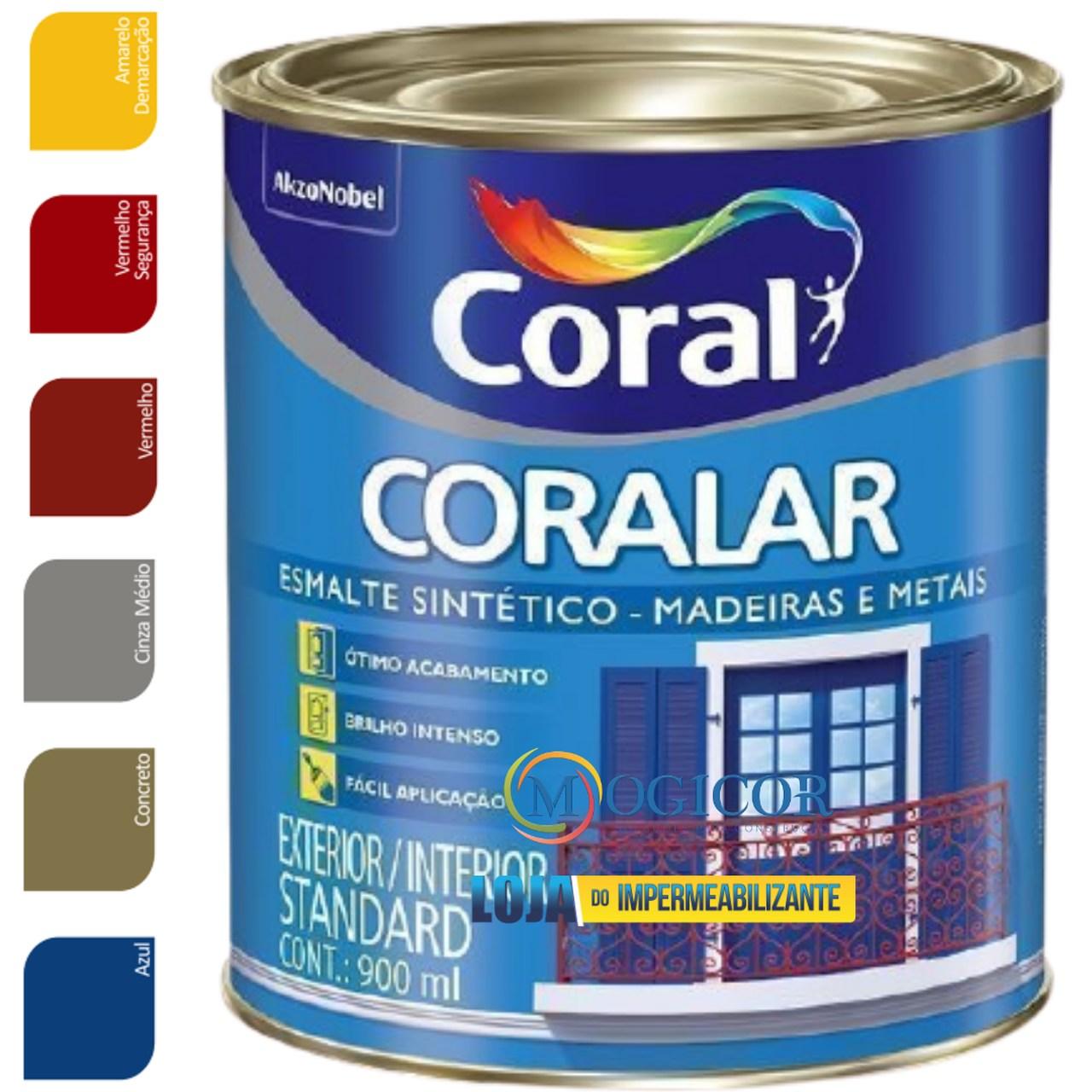 Tinta Esmalte Sintético Coral Brilhante 3,6L p/ Madeiras e Metais - Cores