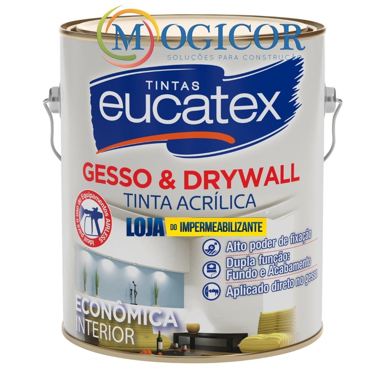 Tinta P/ Pintar Direto No Gesso E Drywall 3,6l Branca - Eucatex