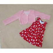Vestido Para Bebê Com Casaco Bolero Em Plush
