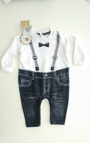 Macacão Longo Bebê Menino Com Suspensório Tip Top