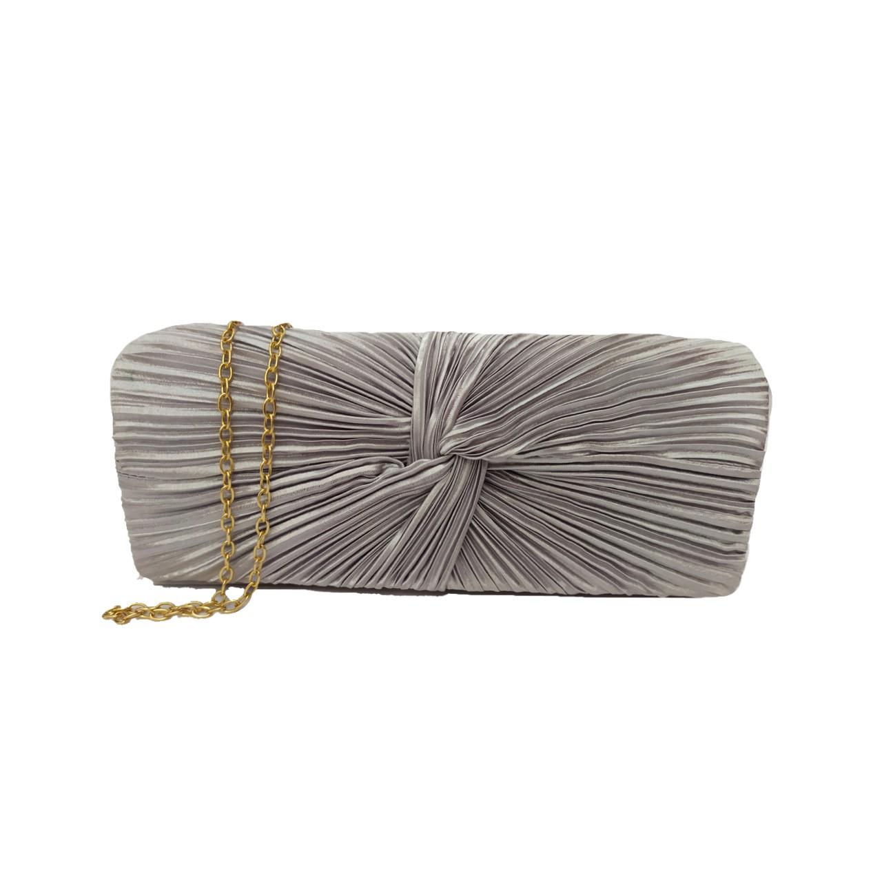 Bolsa clutch de festa com alça removível de corrente - Cinza