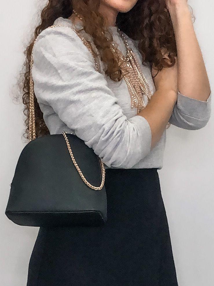 Bolsa feminina duas em uma mochila e bolsa transversal com alça de corrente