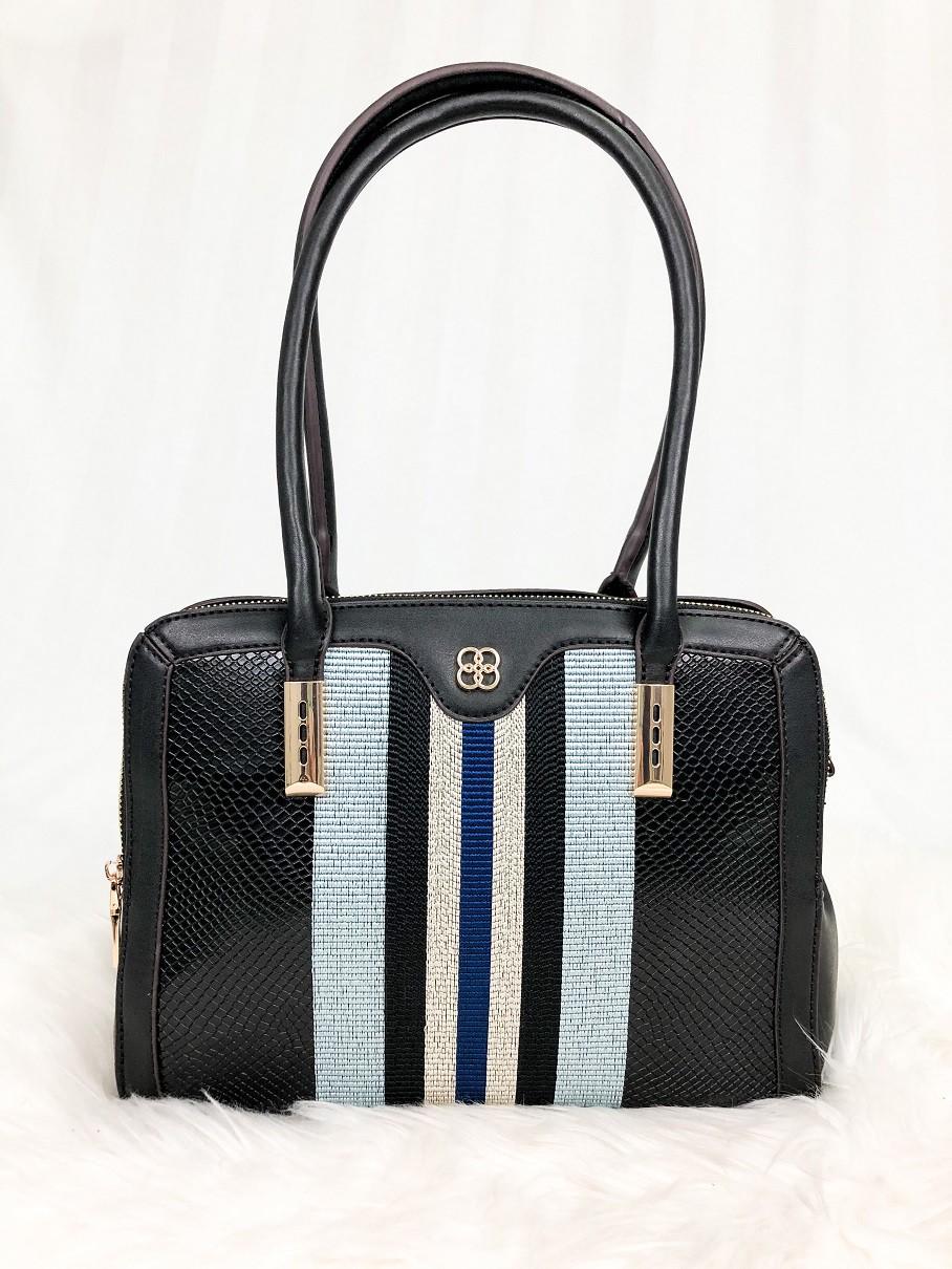 Bolsa Shopper Bag / Tote Bag Chenson com Listras - Preta