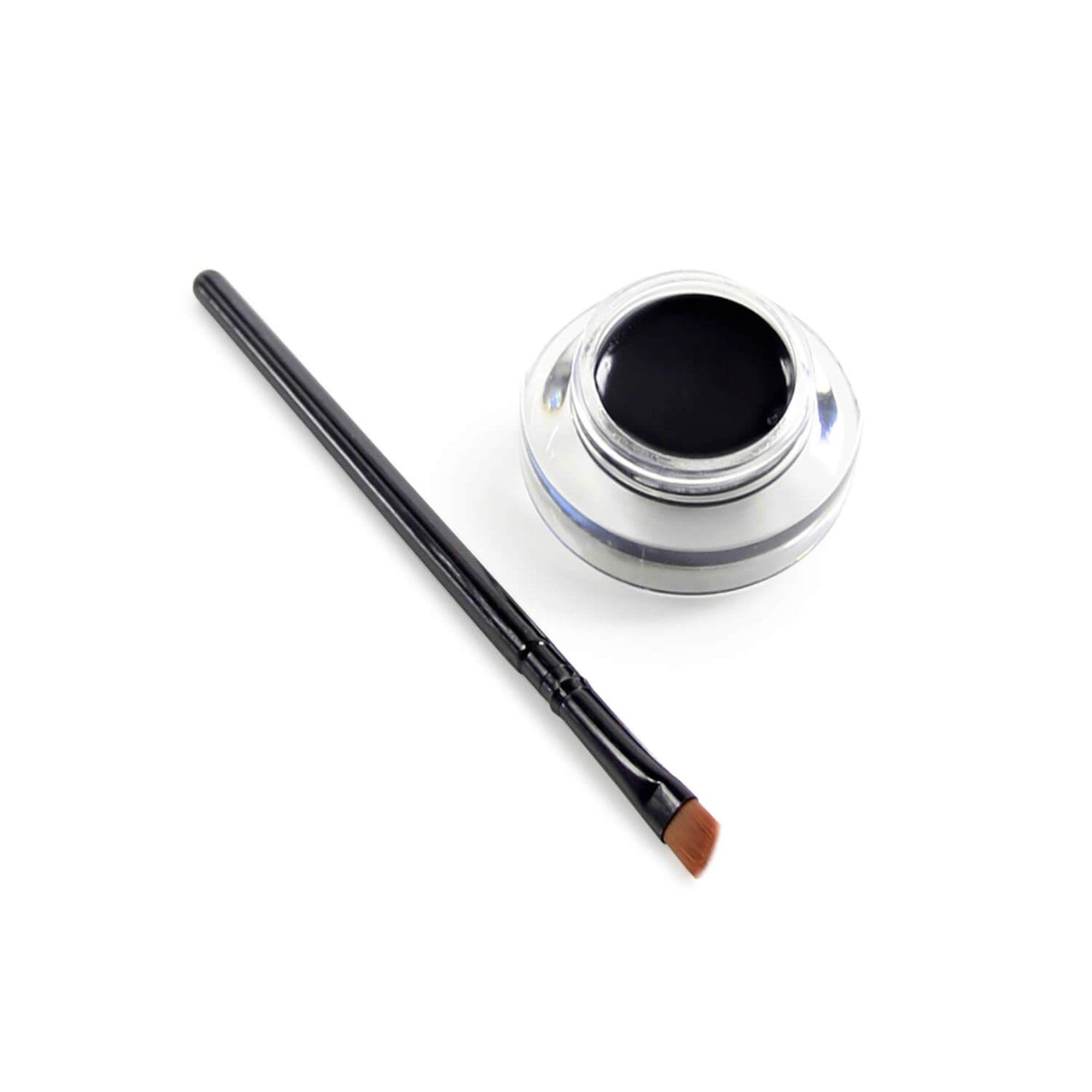 Delineador em gel preto Super Shine Luisance com pincel chanfrado