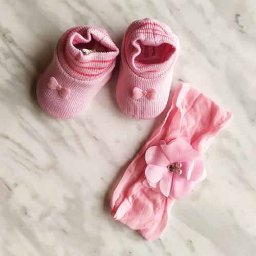 Kit Pimpolho Recém Nascido Sapatinho E Tiara Rosa Anúncio com variação