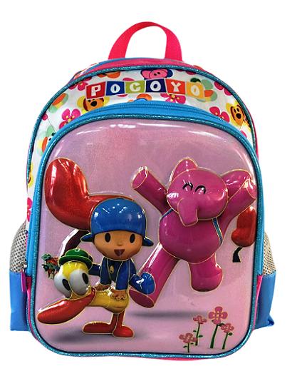 Mochila Infantil Escolar Menina Pocoyo, Elly e Pato - Rosa