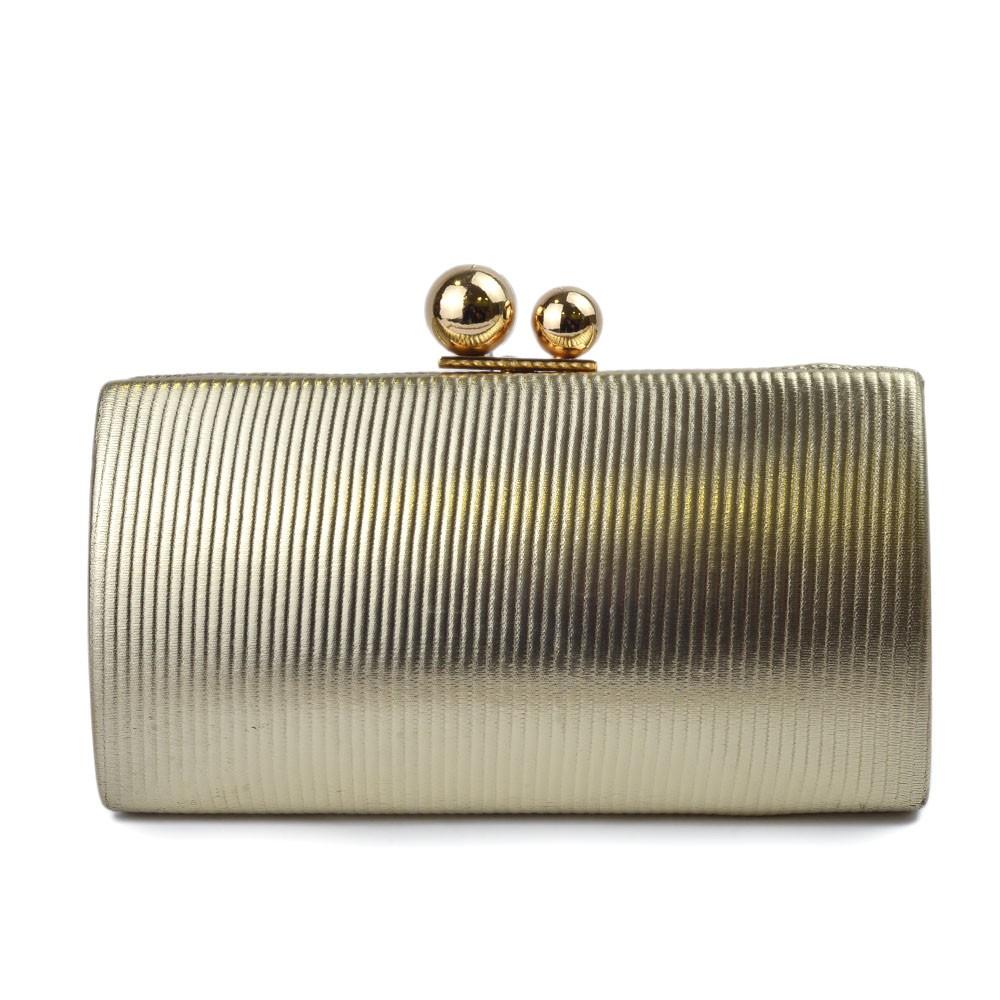 Bolsa Clutch Dourada com Detalhes Verticais REF:M-510