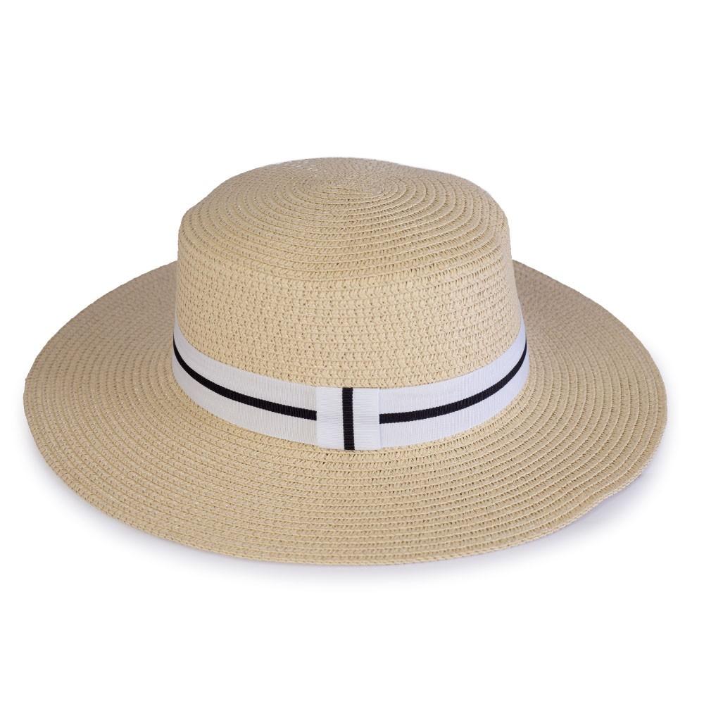 Chapéu de Praia com Fita Branco e Preta