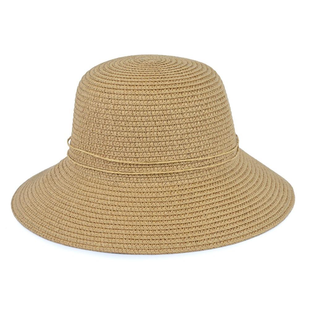 Chapéu Palha Bege com Laço e Detalhe em Pérola